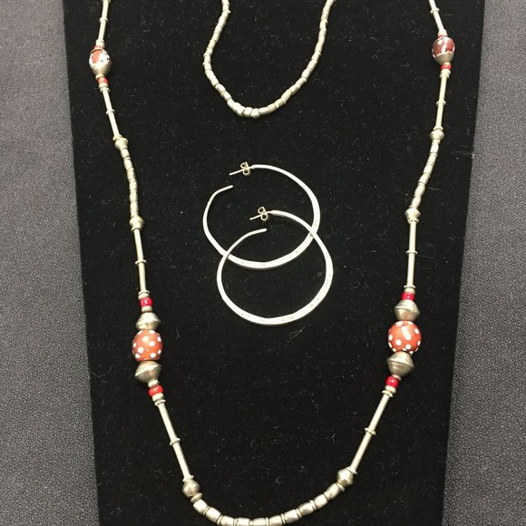 Silver Ethiopian beaded necklace and earrings
